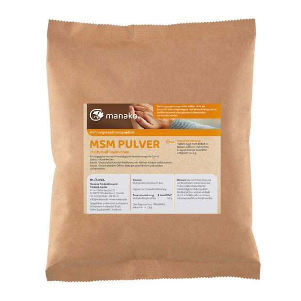 manako MSM - Methylsulfonylmethan -  kristallines Pulver, 99,9% rein, 1 kg Beutel