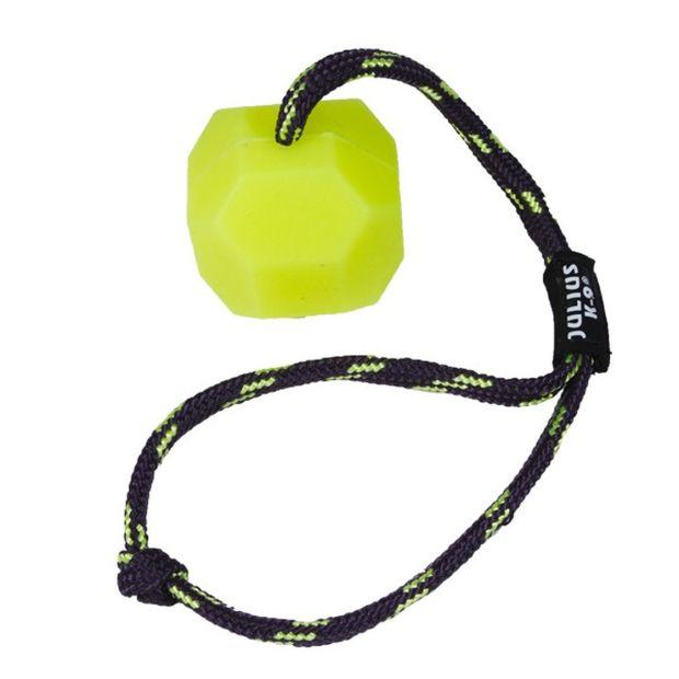 Julius K9® Fluoreszierender IDC®-Ball mit Schnur, Gelb, innen hohl Durchm. 60mm